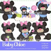 Baby Chloe - Black Teddy Bear Clip Art Collection