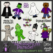 Monsters on Parade! Halloween themed CU clipart