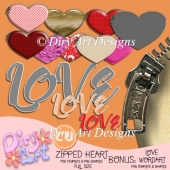 * Zipped Heart Template & Love Wordart Bonus *