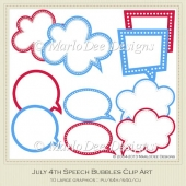 July 4th Speech Bubbles Clip Art by MarloDee Designs