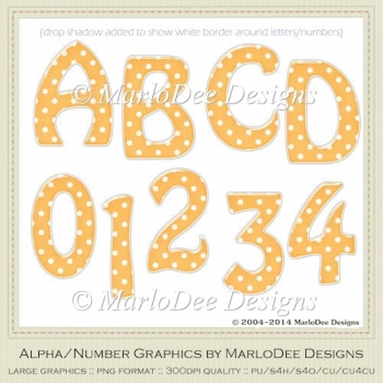 Easter Colors 2011 Candy Gloss Polka Dot Orange 2 Alpha/Numbers