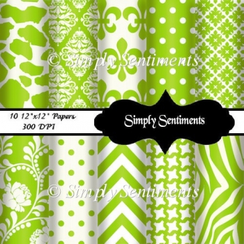 "10 12""x12"" Lime & White Papers"