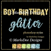 Boy Birthday Glitter Photoshop Styles by MarloDee Designs
