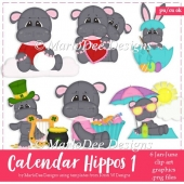 Calendar Hippos - January through June - Clip Art Collection