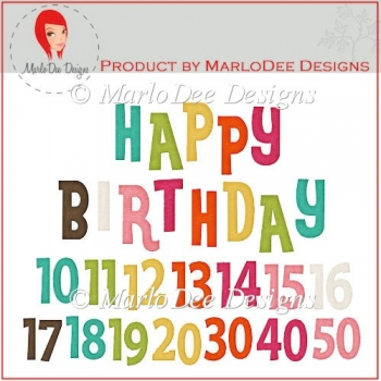 Colorful Birthday Numbers & Word Art Pkg 3