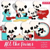 All the Fixin's - Cute Pandas in the Kitchen Clip Art Collection
