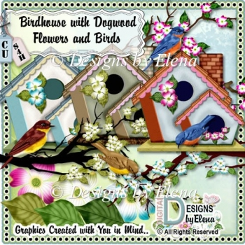 Birdhouse with Dogwood Flowers and Birds