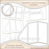 Tri Fold Teardrop Card Kit & Envelope Template Commercial Use