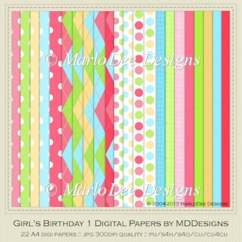 Girl's Birthday Digital Papers {A4 Size} by MDDesigns