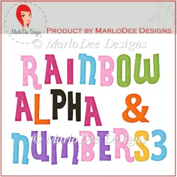 Rainbow Alpha Letters & Numbers 3 by MarloDee Designs