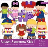 Autism Awareness Kids 1 Clip Art Collection