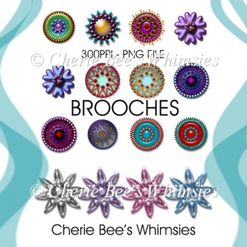 Brooches Clip Art, Jewels Clipart, PNG Files, 16 Piece Set
