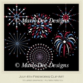 July 4th Fireworks Clip Art by MarloDee Designs