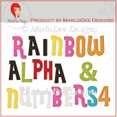Rainbow Alpha Letters & Numbers 4 by MarloDee Designs