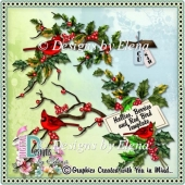Hollies, Berries and Red Bird Templates CU