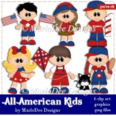 All Amercian Kids - July 4th Clip Art Collection