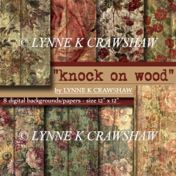 """KNOCK ON WOOD"" 8 digital paper backgrounds - 12"" x 12"" size"