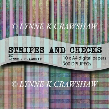 """STRIPES AND CHECKS"" by LYNNE K CRAWSHAW digital paper pack"