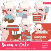 Bacon a Cake - Cute Pigs in a Kitchen Clip Art Collection