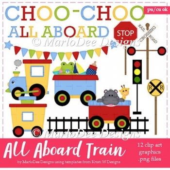 All Aboard the Choo Choo Train Clip Art Collection 1