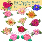 Assorted Flowers (12) PNGs, 300ppi CU