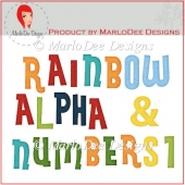 Rainbow Alpha Letters & Numbers 1 by MarloDee Designs
