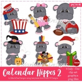 Calendar Hippos - July through December - Clip Art Collection