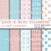PINK & BLUE DELICATES digital A4 paper pack - 10 sheets CUOK