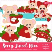 Berry Sweet Mice Clip Art Collection