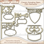 5 Cream Hanging Sign Elements