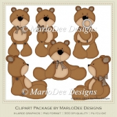Barry Teddy Bear Clip Art by MarloDee Designs