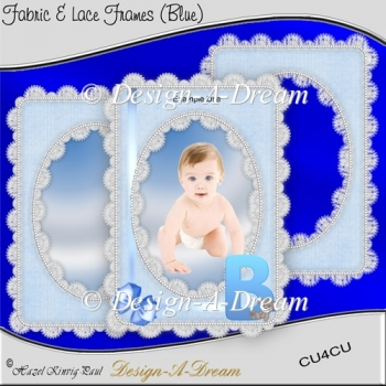 Fabric & Lace Frames (Blue)