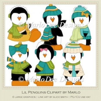 Lil Penguins Clipart by MarloDee Designs