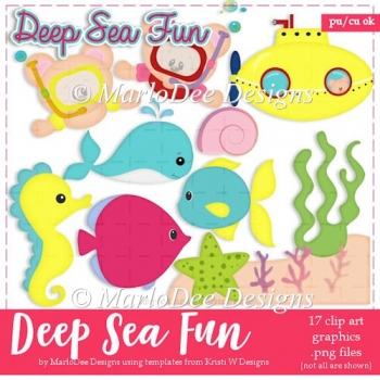Deep Sea Fun - Teddy Bear & Fish Clip Art Collection