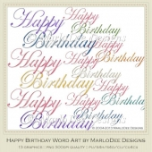 Colorful Happy Birthday Word Art Graphics by MarloDee Designs