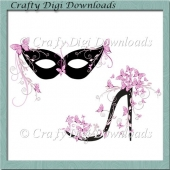 Pink Butterfly Mask And Shoe