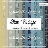 Blue Vintage A4 size Digital Papers Package 2