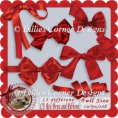 12 CU Red Bows and Ribbons