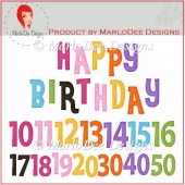 Colorful Birthday Numbers & Word Art Pkg 1
