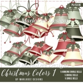 Commercial Use Holiday Bells Graphics | Christmas Colors 1 Set 1