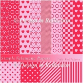 Simple Valentine Papers D - Pink-Red Palette