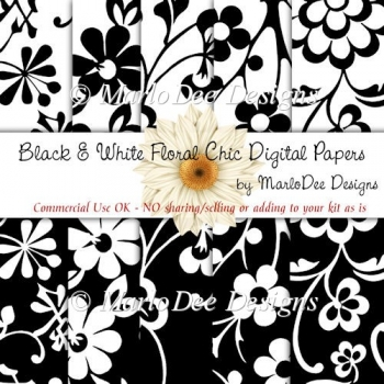 Black & White Floral Chic Digtal Papers