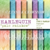 """HARLEQUIN"" - Pale Rainbow - 8 digital papers/backgrounds CUOK!"