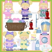 Spring Cleaning Girls Blonde Clip Art