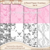Floral Paper Overlays - Set 4 - PNG FILES - CU OK