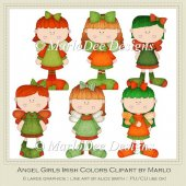 Angel Girls Irish Colors Clip Art by MarloDee Designs
