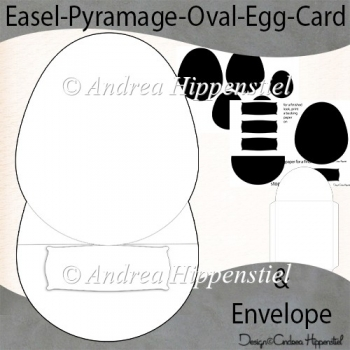 Easel Pyramage Oval Egg Shaoe Card & Envelope