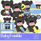 Baby Franklin - Black Teddy Bear Clip Art Collection