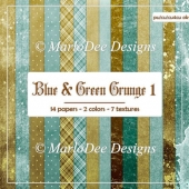 Blue Green Shades Multi Design Digital Papers Package 1
