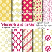 """RHUBARB AND CREAM"" 10 printable high quality A4 digital papers"